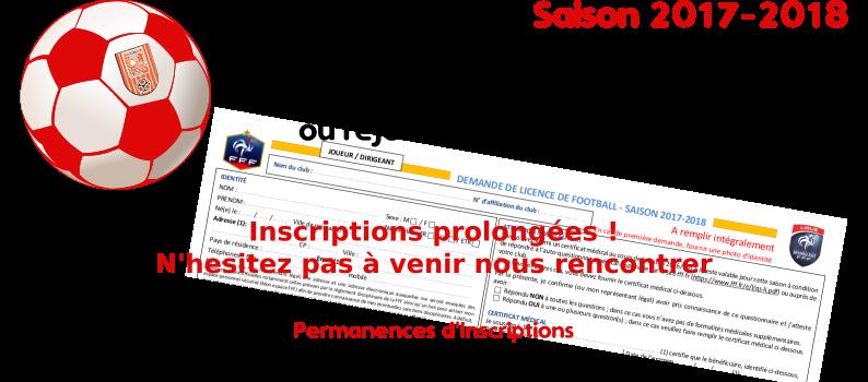 Saison 2017/2018 - Inscriptions - Prolongation permanence le 13/09/2017