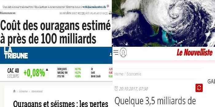 Ouragans et séismes : les pertes assurées chiffrées à près de 100 milliards de dollars