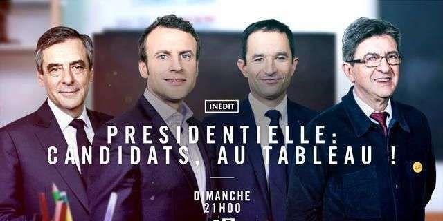 """Mélenchon, Macron, Fillon et Hamon """"Au tableau !"""" ce soir sur C8"""