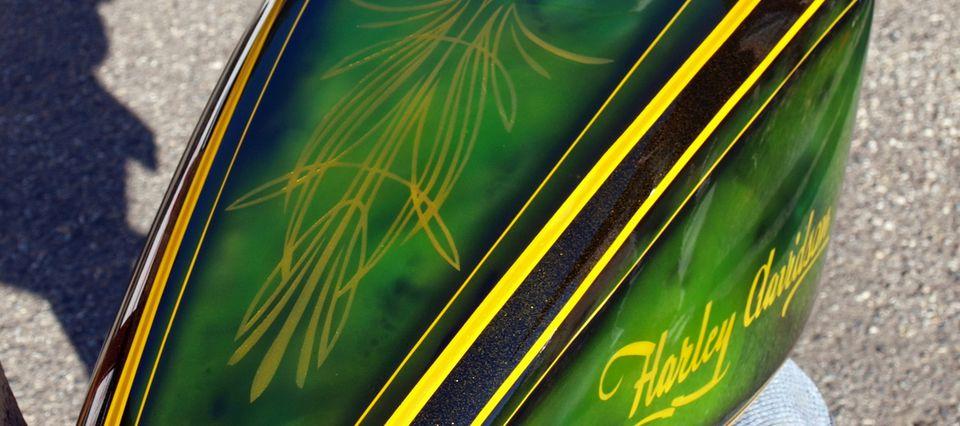 Réservoir sportster Harley Davidson émeraude gold